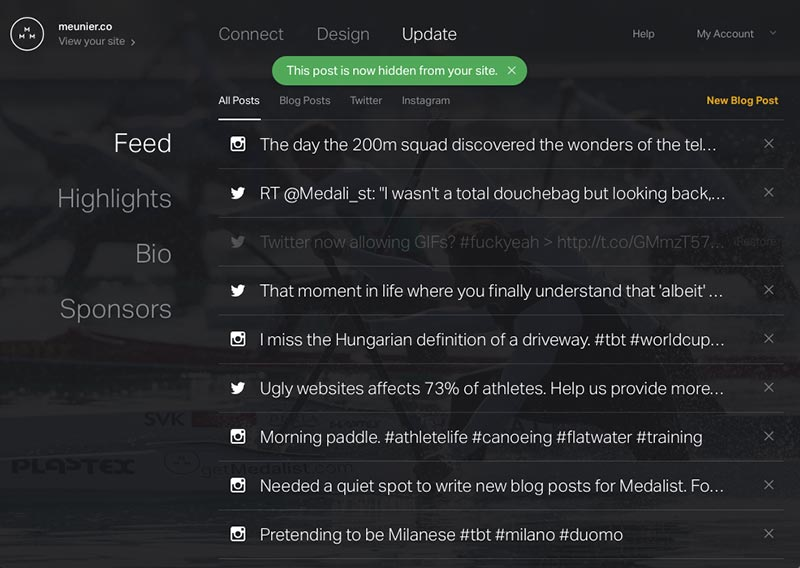Preview of the feed admin UI